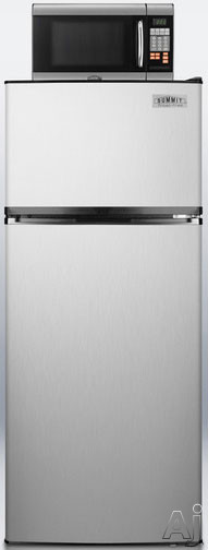Summit MRF1159SS 24 Inch Top Freezer Refrigerator with 10.3 cu. ft. Capacity, 800W Microwave Oven, Adjustable Wire Shelving, Large Crisper, 4 Door Bins, ENERGY STAR and 10A Power Allocator Box: Stainless Steel