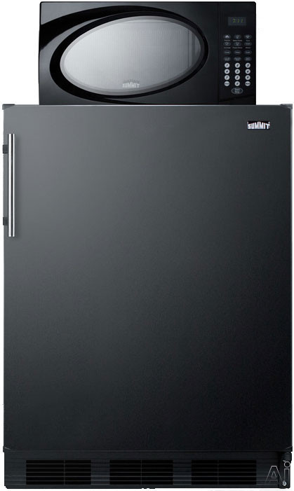 Summit MRF663 24 Inch Compact Refrigerator with 5.1 cu. ft. Capacity, Zero-Degree Freezer Section, 700 Watt Microwave, Adjustable Glass Shelves, Produce Drawer, 3 Door Bins, Wine Rack and Interior Lighting