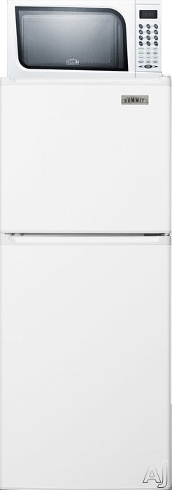 Summit MRF71ES 19 Inch Compact Top Freezer Refrigerator with 4.8 cu. ft. Capacity, Microwave Oven, 2 Adjustable Wire Shelves, Produce Drawer, 3 Door Shelves, 3 Freezer Door Shelves, 1 Freezer Shelf, Frost Free Defrost and Reversible Door Swings