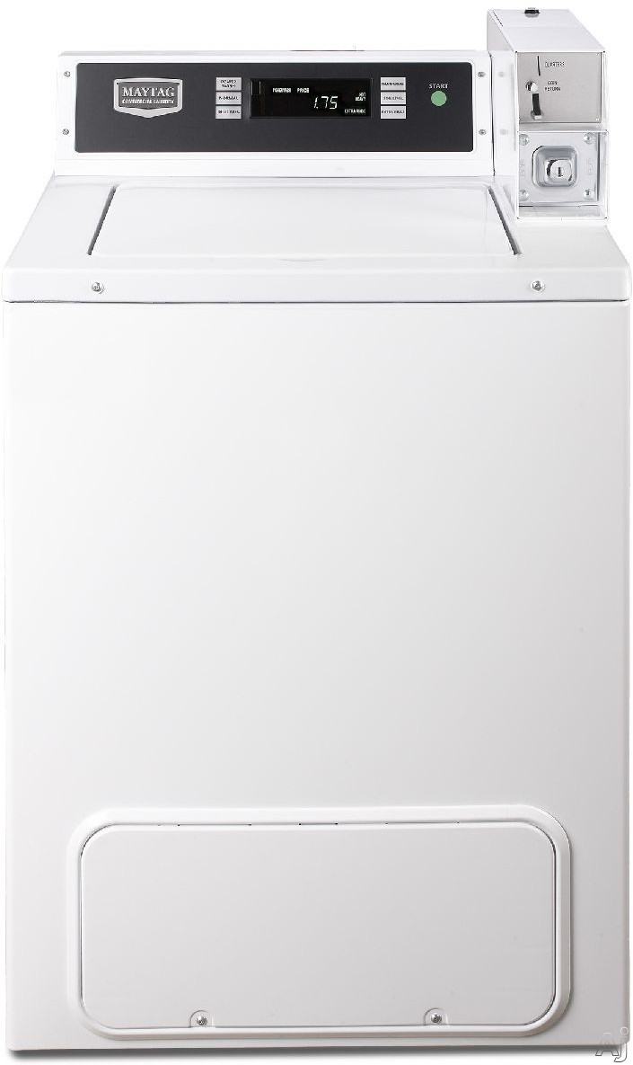 Picture of Maytag Commercial Laundry MVW18PDBWW 27 Maytag Commercial Energy Advantage Top Load Washer with Coin Box Option 29 cu ft Washing Capacity 700 RPM Spin Speed Microprocessor Digital Controls and Time Remaining Display