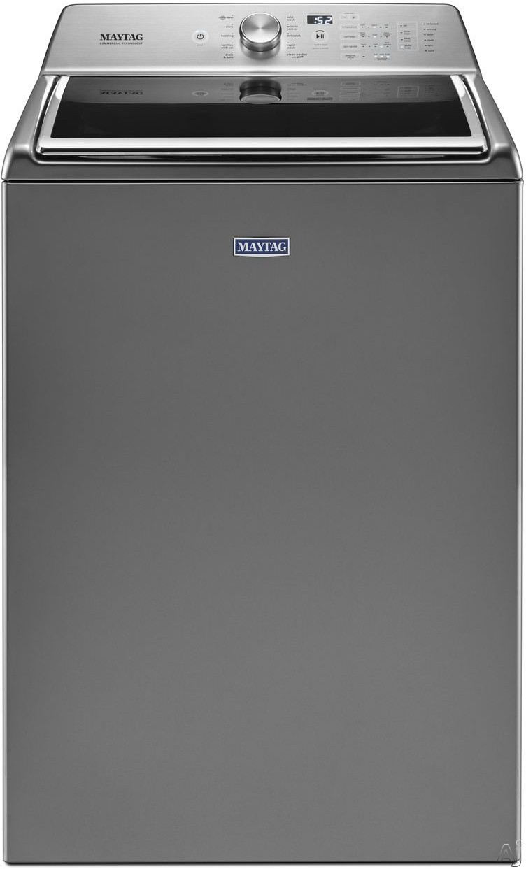 Maytag MVWB865GC 28 Inch Top Load Washer with PowerWash® Agitator, Auto Sensing Option, Deep Fill Option, Rapid Wash Cycle, Sanitize Cycle with Oxi, Stainless Steel Wash Basket, Commercial Technology and 5.2 cu. ft. Capacity: Metallic Slate MVWB865GC