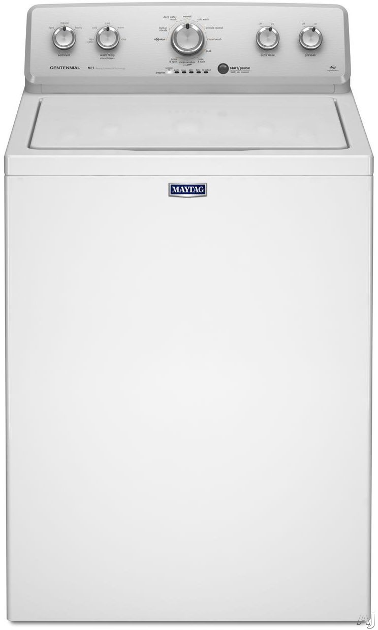 Maytag Centennial Series MVWC415EW 28 Inch 36 cu ft Top Load Washer with 11 Wash Cycles 800 RPM PowerWash Cycle Wrinkle Control Deep Water Wash Cycle Automatic Load Size Sensing Technology PowerWash Agitator and Clean Washer Cycle with Affresh