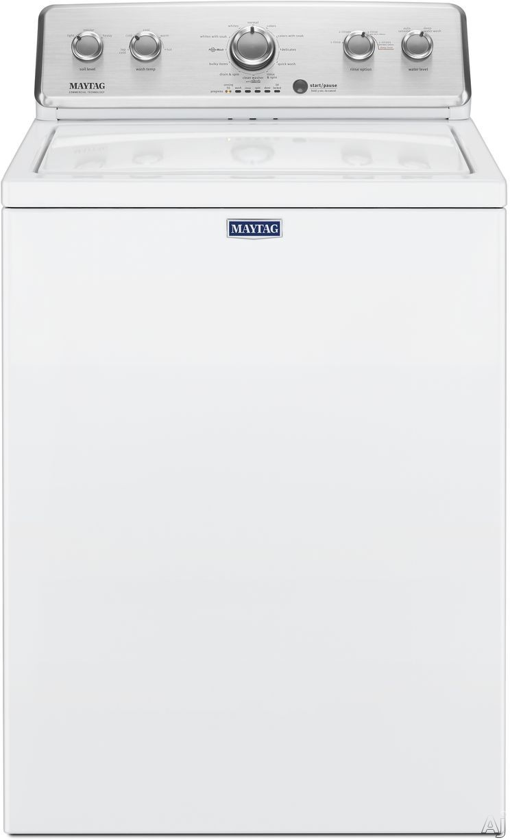 Maytag MVWC465HW 28 Inch Top Load Washer with PowerWash® Agitator, 12 Wash Cycles, Quick Wash Cycle, 2 Water Level Options, 5 Temperature Options, Stainless Steel Drum and 3.8 cu. ft. Capacity MVWC465HW