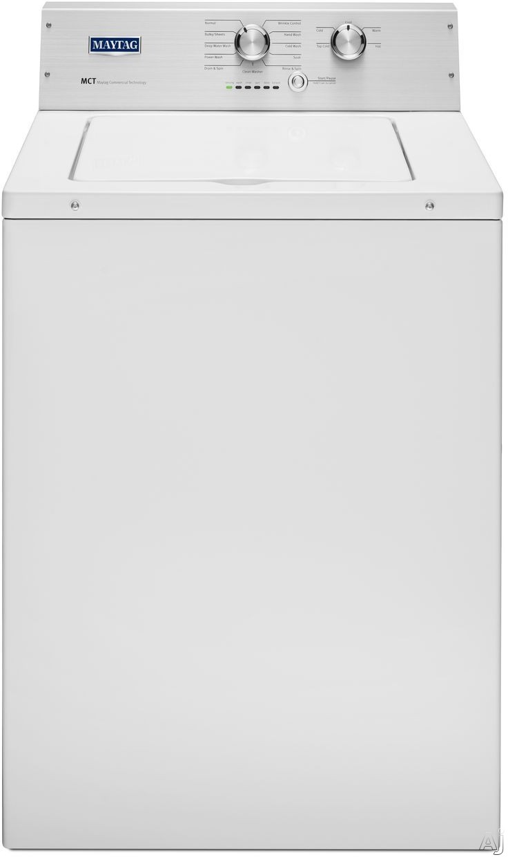 Maytag Heritage Series MVWP475EW 28 Inch 3.6 cu. ft. Top Load Washer with 11 Wash Cycles, 800 RPM, PowerWash Cycle3, Wrinkle Control, Deep Water Wash Cycle, Detergent Dispenser, Automatic Load Size Sensing Technology, PowerWash Agitator and Clean Washer C