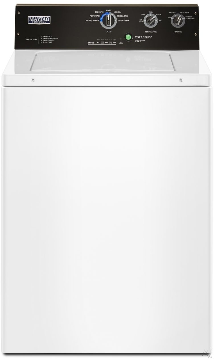 Maytag MVWP575GW 27 Inch Top Load Washer with PowerWash® Cycle, 4 Deep Water Wash Cycles, Dual-Action Agitator, Spin Fill, 1/2 Horsepower Motor, 3.5 cu. ft. Capacity, Stainless Steel Wash Basket and Commercial-Grade Water Fill Hoses Included MVWP575GW