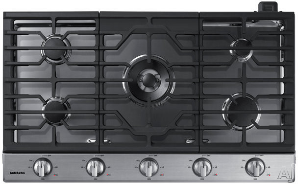 "Samsung NA36N6555TS 36 Inch Gas Cooktop with 19K Power Burner, Sealed Burners, Griddle, LED Illuminated Backlit Knobs, Ready2Fitâ""¢ Guarantee, Wi-Fi Connectivity and ADA Compliant: Stainless Steel"