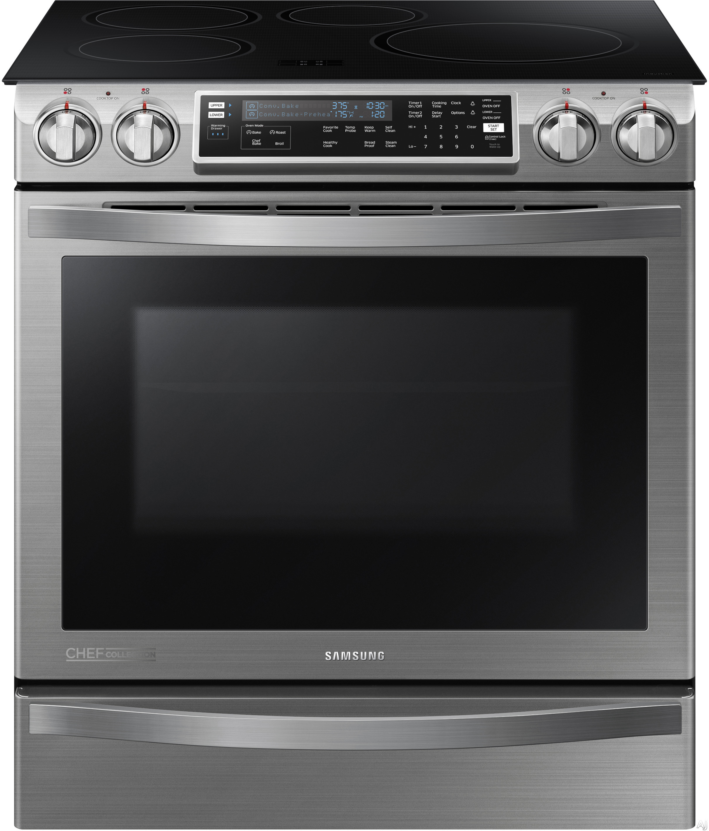 "Samsung Chef Collection NE58H9970WS 30"" Slide-In Induction Range with 4 Burners, 5.8 cu. ft. Convection Oven, Flex Duo Oven Option, LED Virtual Flame Technology and Gliding Oven Rack"