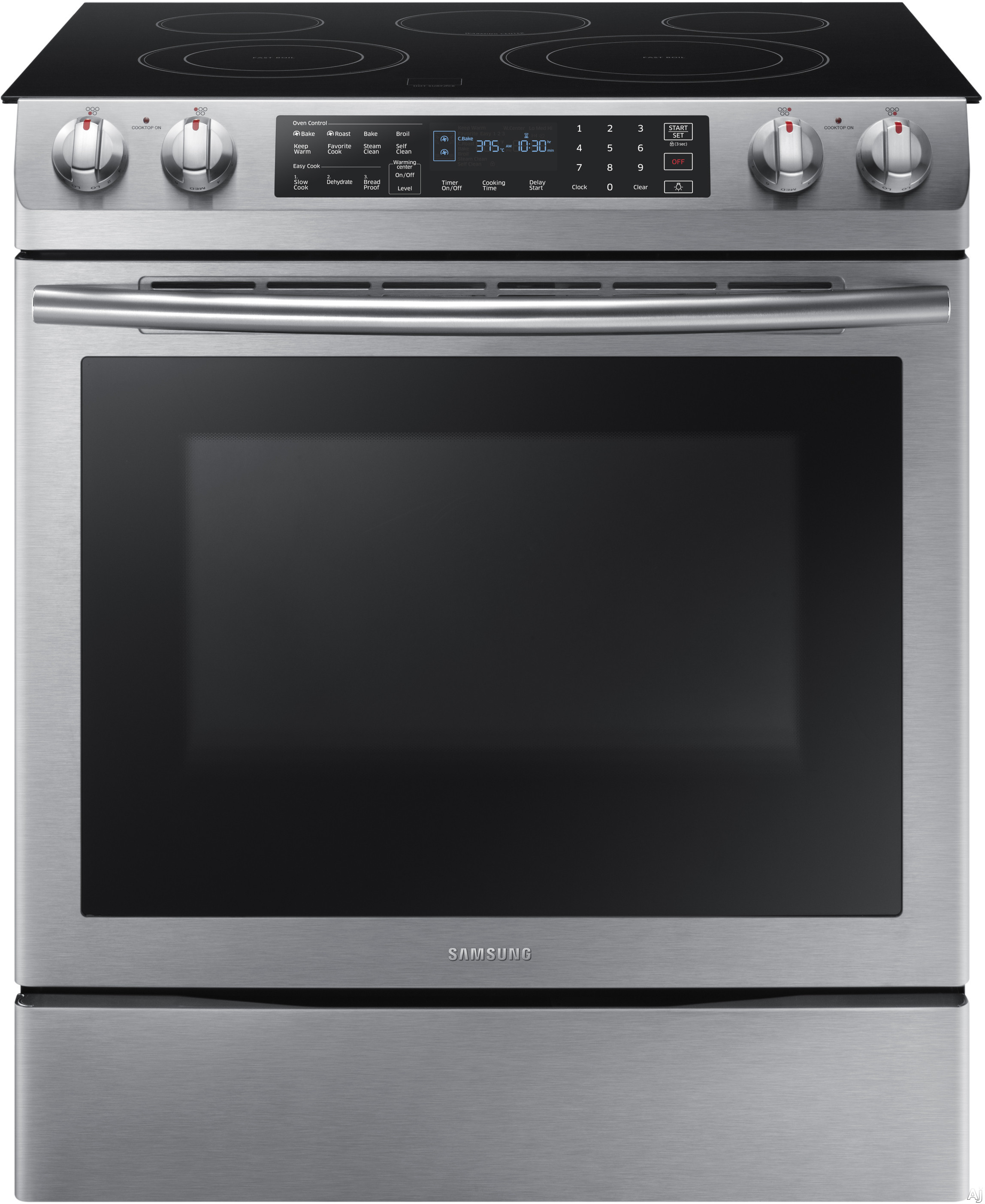 Samsung NE58K9430SS 30 Inch Slide-in Electric Range with 5 Smoothtop Elements, 5.8 cu. ft. Dual Convection Fan Oven, 2 Flexible Cooktop Elements, Delay Start, Sabbath Mode, Storage Drawer and Steam Se
