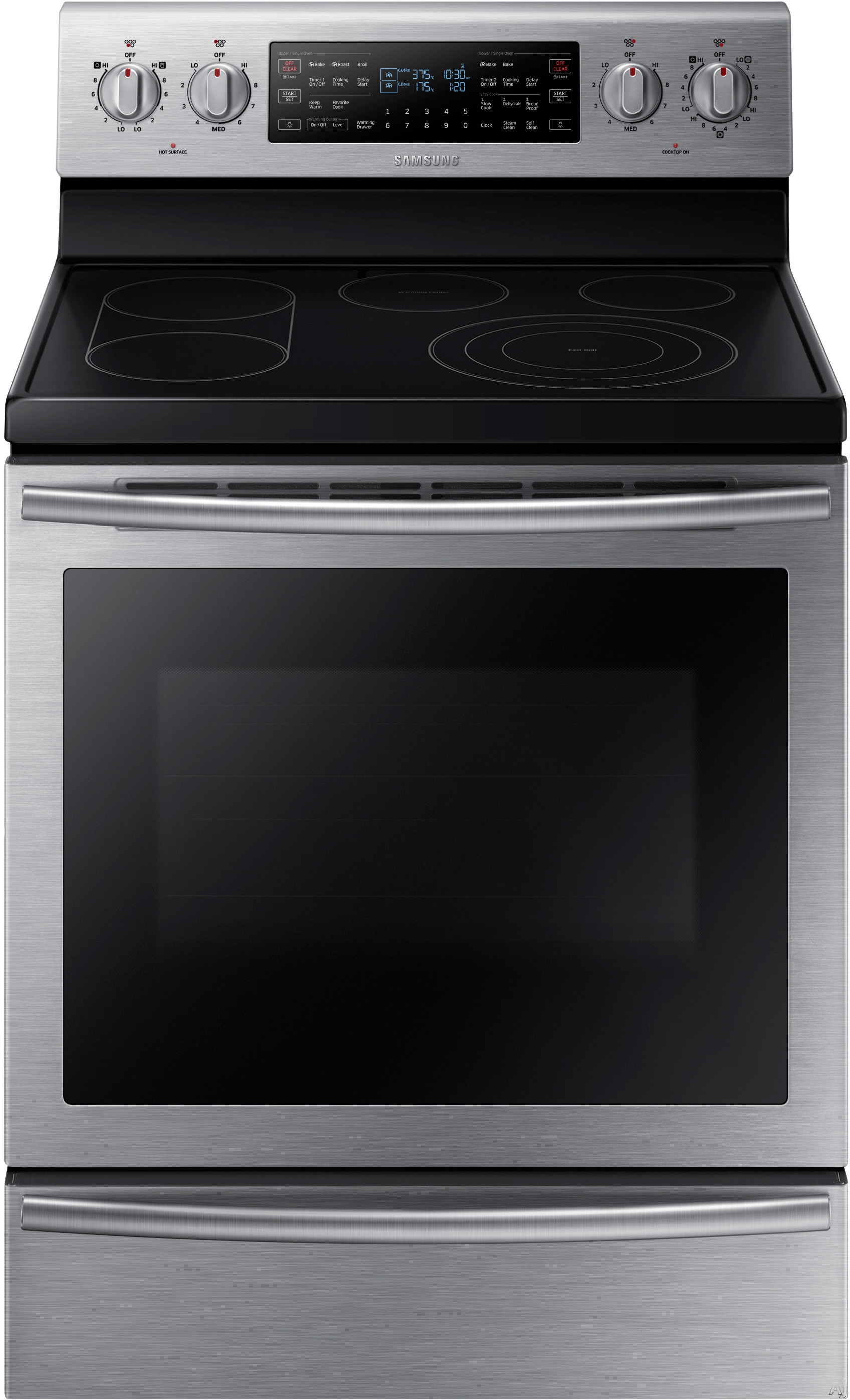 """Samsung NE59J7750WS 30 Inch Freestanding Electric Range with 5 Smoothtop Elements, 5.9 cu. ft. Flex Duo Dual Convection Oven, 6""""""""/9""""""""/12 Inch 3000W Element, Soft Close Door, Warming Drawer and Steam Clean"""" NE59J7750WS"""