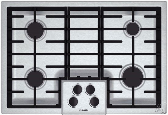 Bosch 500 Series NGM5055UC 31 Inch Gas Cooktop with 4 Sealed Burners, 16,000 BTU Burner, Cast Iron Continuous Grates, Heavy-Duty Metal Knobs, Centralized Controls and Low-Profile Design