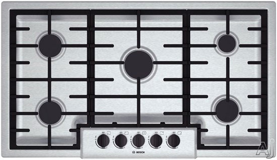 Bosch 500 Series NGM5655UC 37 Inch Gas Cooktop with Power Burner, Continuous Grates, Centralized Controls, Low-Profile Design, Heavy-Duty Metal Knobs and 5 Sealed Burners
