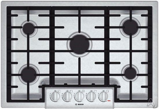 Bosch 800 Series NGM8055UC 31 Inch Gas Cooktop with Continuous Grates, LED Light Indicator, Heavy-Duty Knobs, 5 Sealed Burners and 47,200 Total BTU: Stainless Steel