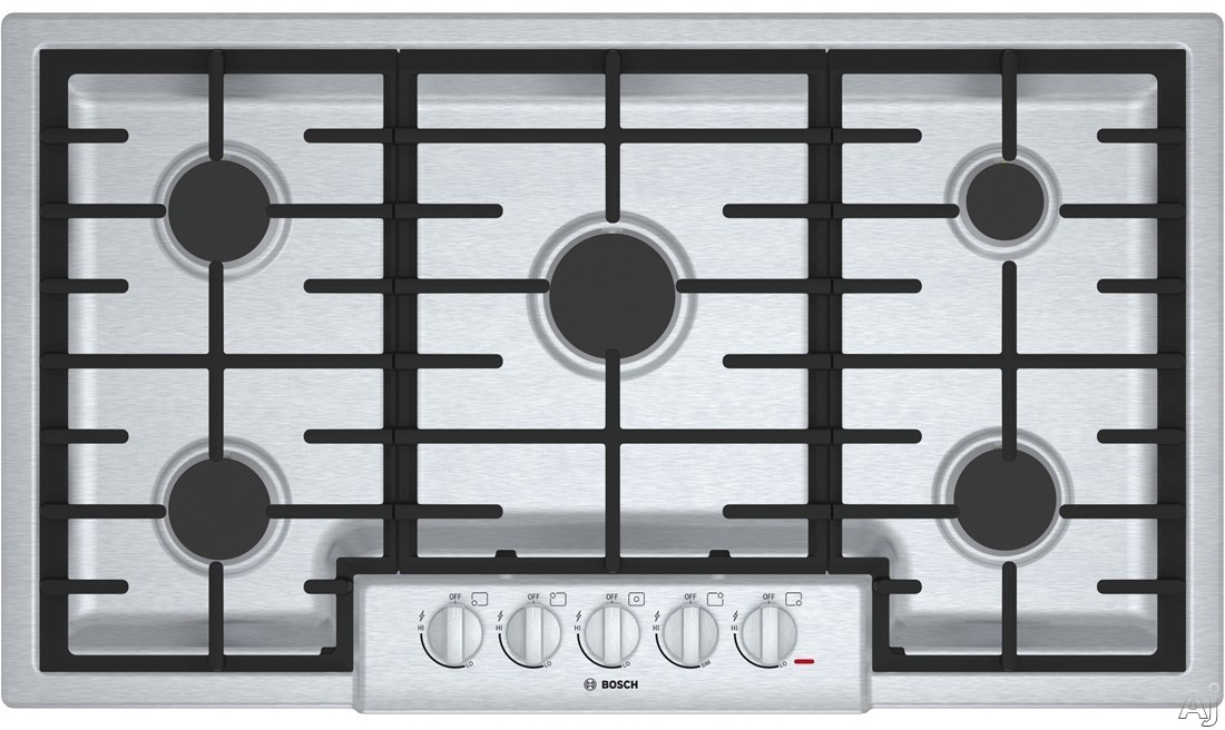 Bosch 800 Series NGM8655UC 37 Inch Gas Cooktop with Automatic Re-Ignition, Continuous Grates, Centralized Controls, LP Convertible, 18,000 BTU Center Burner, 59,500 BTU Burners, Low-Profile Design, 5 Sealed Burners and Metal Knobs: Stainless Steel