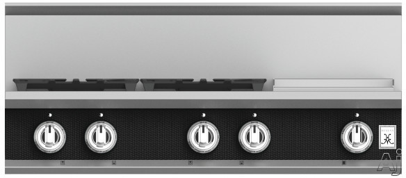 """Hestan KRT364GDLPBK 36 Inch Rangetop with 4 Sealed Burners, 12 Inch Griddle, Cast-Iron Continuous Grates, Backlit Control Knobs and Marquiseâ""""¢ Control Panel: Natural Gas / Stealth"""
