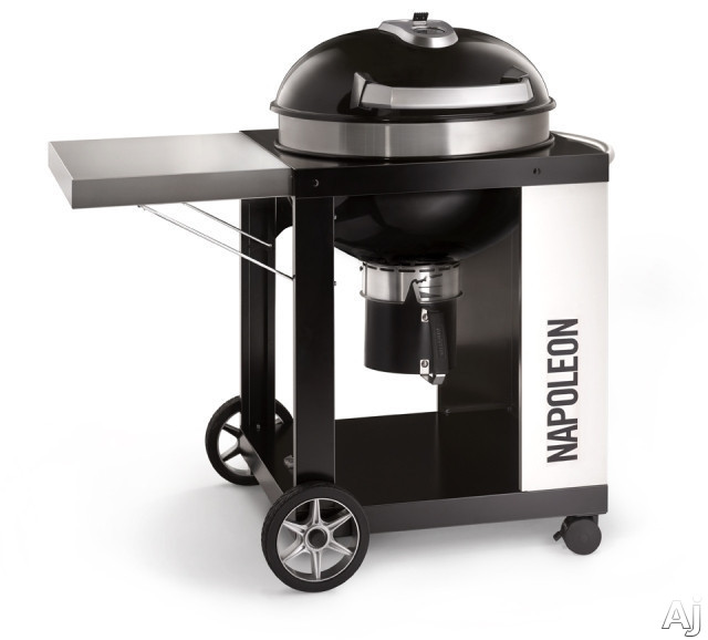 Napoleon PRO22KCART2 39 Inch Freestanding Gas Grill with ACCU-PROBE Temperature Gauge, Hinged Cooking Grids, Folding Side Shelf, High Capacity Ash Catcher and 203 sq. in. Cooking Area