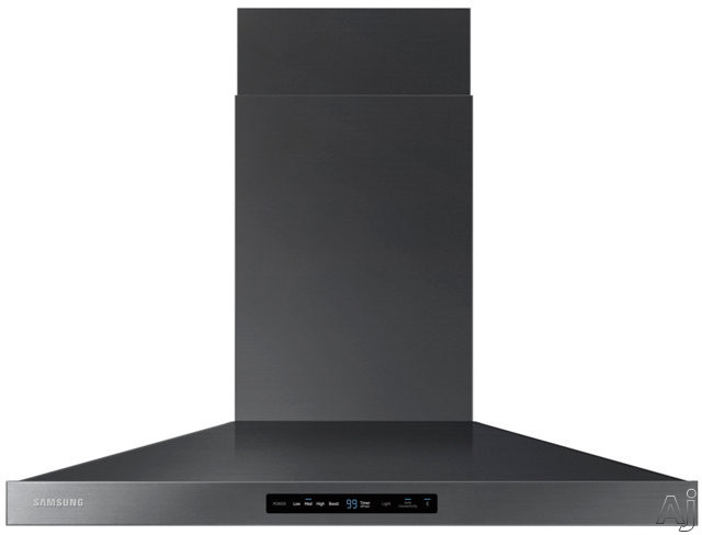 Samsung NK36K7000WG 36 Inch Wall Mount Chimney Range Hood with 600 CFM, 3 Speeds, LED Cooktop Lighting, Digital Touch Controls, Dishwasher Safe Metal Filters and ADA Compliance with Wi-Fi Connectivity: Black Stainless Steel NK36K7000WG