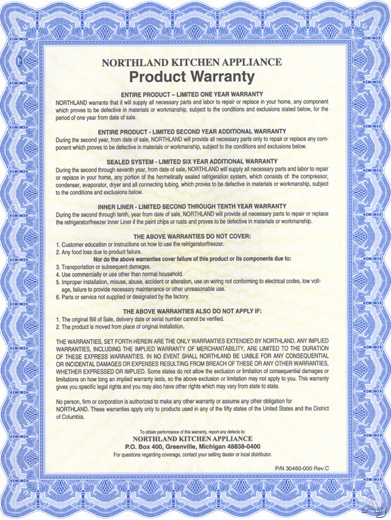 Northland Kitchen Appliance Warranty