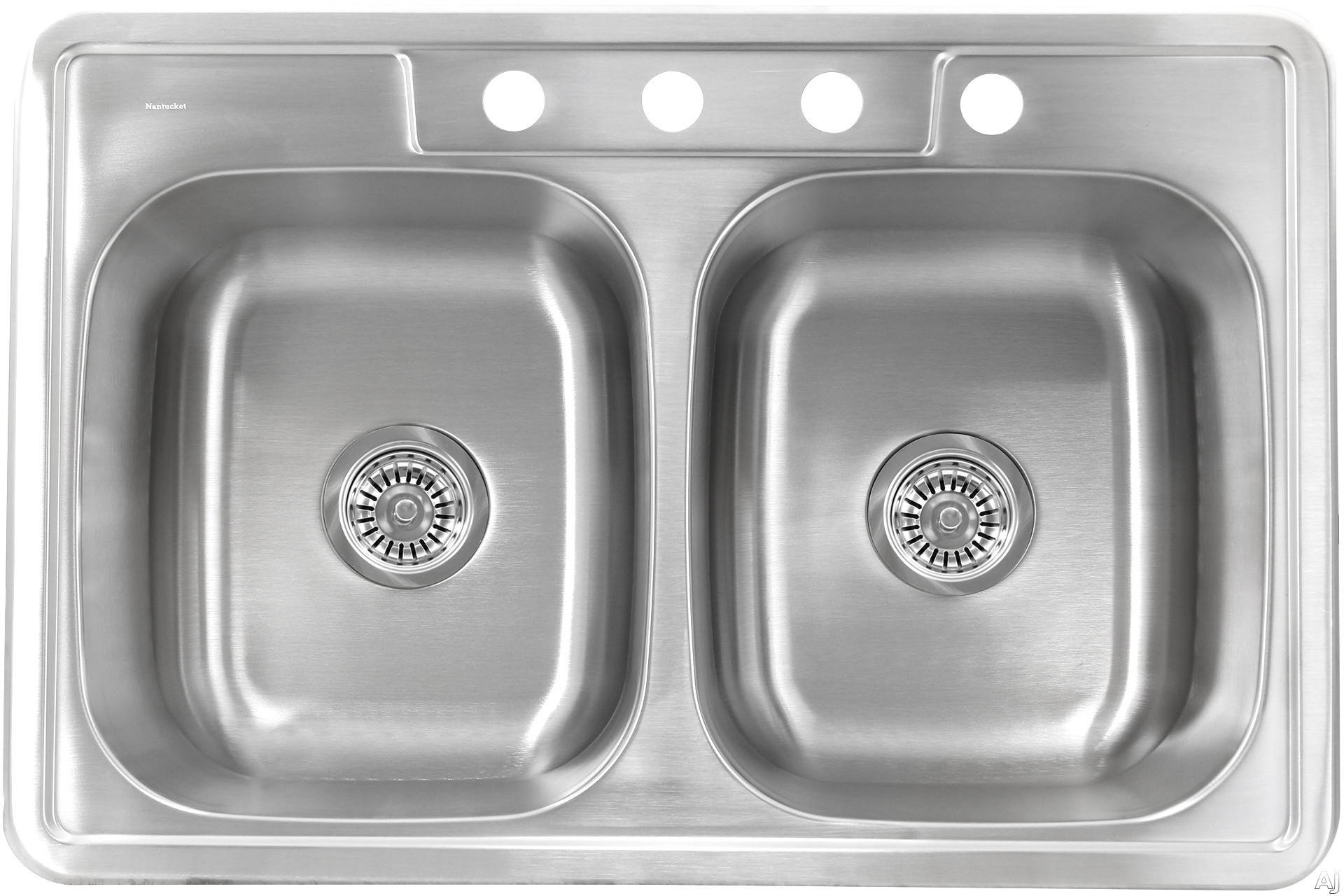 Nantucket Sinks Madaket Collection NS332220DE 33 Inch Double Bowl Drop-In Kitchen Sink with 8 Inch Bowl Depth, 304 Stainless Steel, 20 Gauge, Brushed Satin Finish and Condensation Reducing Insulation