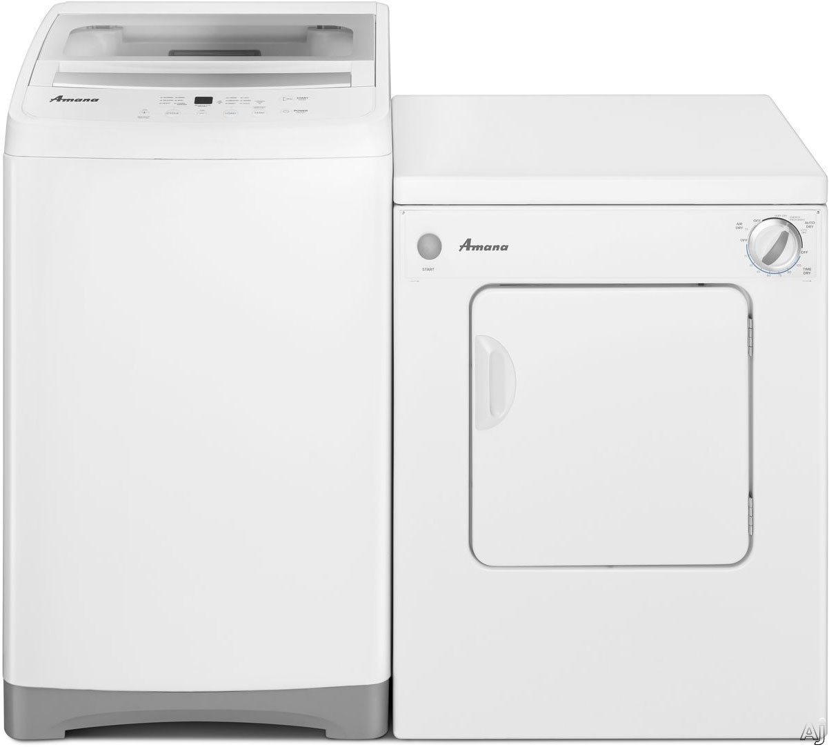 Picture of Amana AMWADREW2 Side-by-Side Washer  Dryer Set with Top Load Washer and Electric Dryer in White
