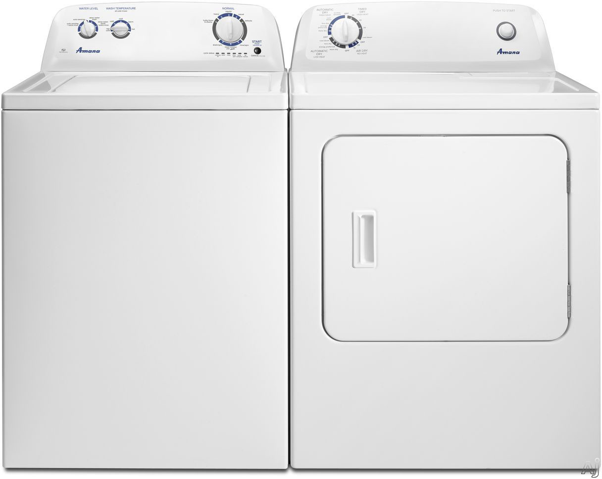 Picture of Amana AMWADREW1 Side-by-Side Washer  Dryer Set with Top Load Washer and Electric Dryer in White