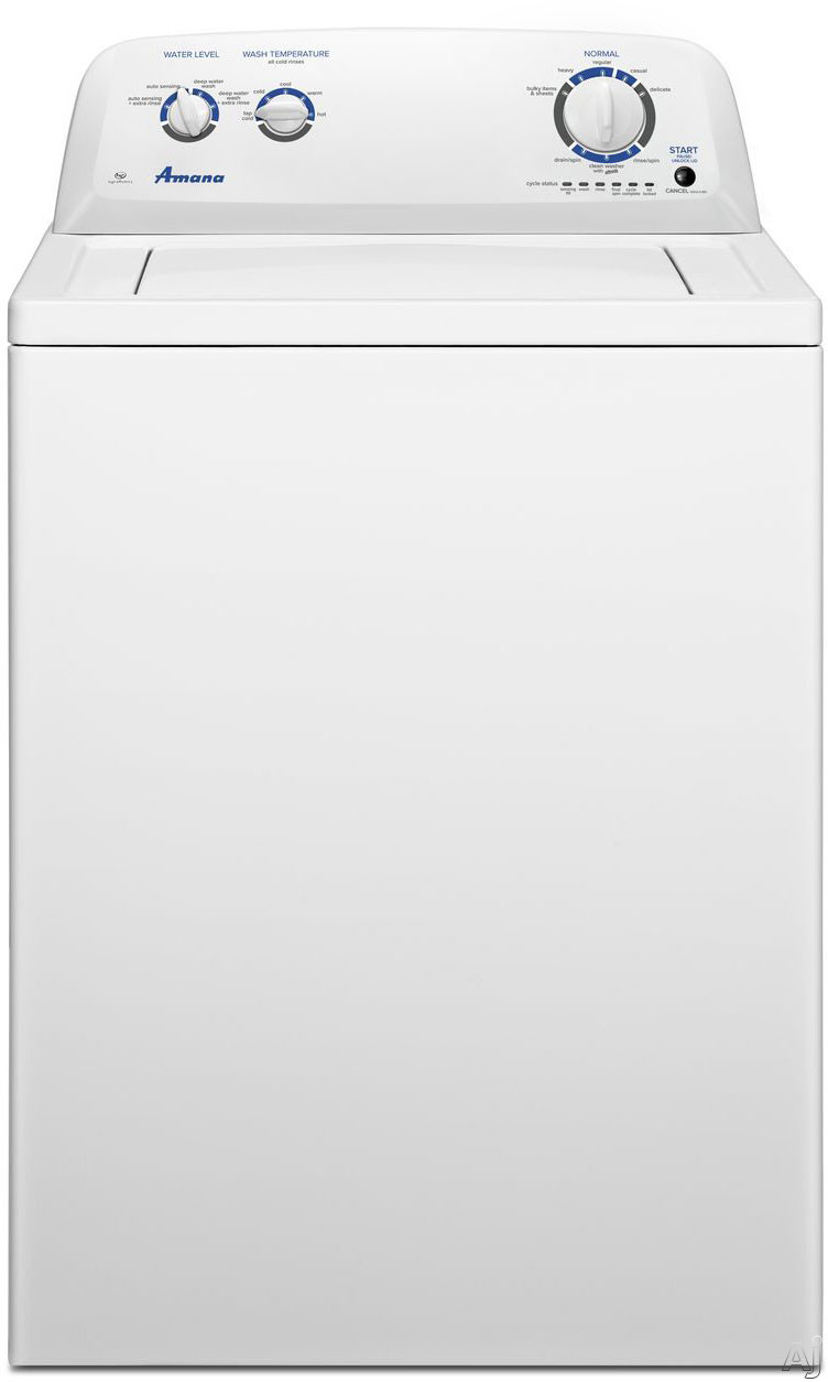 Amana NTW4516FW 27.5 Inch Top Load Washer with 4.0 cu. ft. Capacity, 8 Wash Cycles, Dual Action Agitator, Porcelain Tub, Late Lock Lid and Deep Water Wash Option NTW4516FW