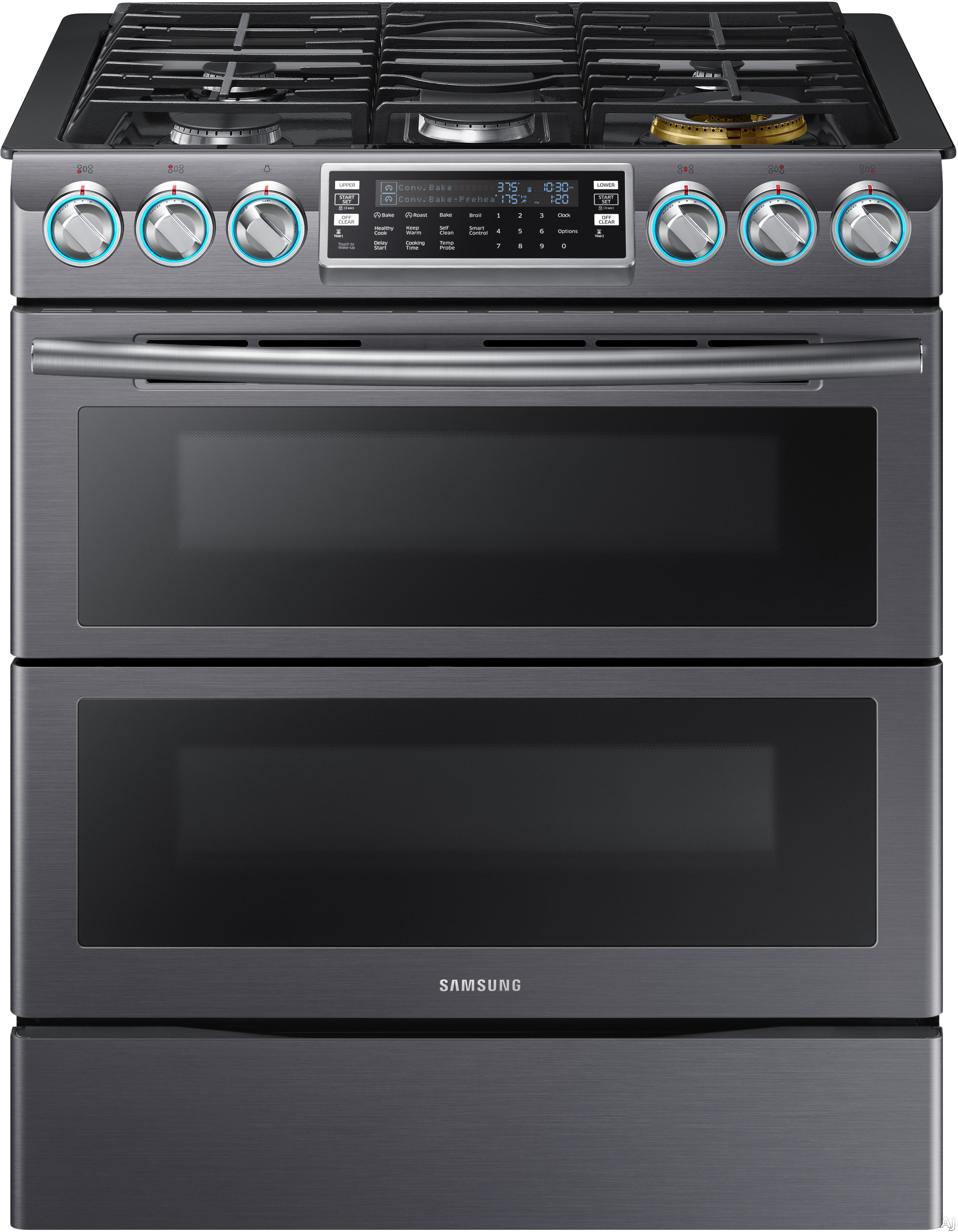 "Samsung NX58K9850 30 Inch Flex Duoâ""¢ Slide-In Gas Range with Dual Convection, Wi-Fi Connectivity, Soft Close Door, 5.8 cu. ft. Oven, 5 Sealed Burners, 22,000 BTU Power Burner, Blue LED Knobs, Storage Drawer and Self-Cleaning Mode"