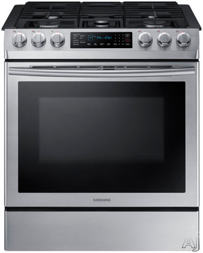 Samsung NX58M9420SS 30 Inch Slide-In Gas Range with Convection, Wi-Fi, Glass Touch Controls, Continuous Grates, 5 Sealed Burners Griddle, 5.8 cu. ft. Capacity, Storage Drawer, Self-Clean and Sabbath M
