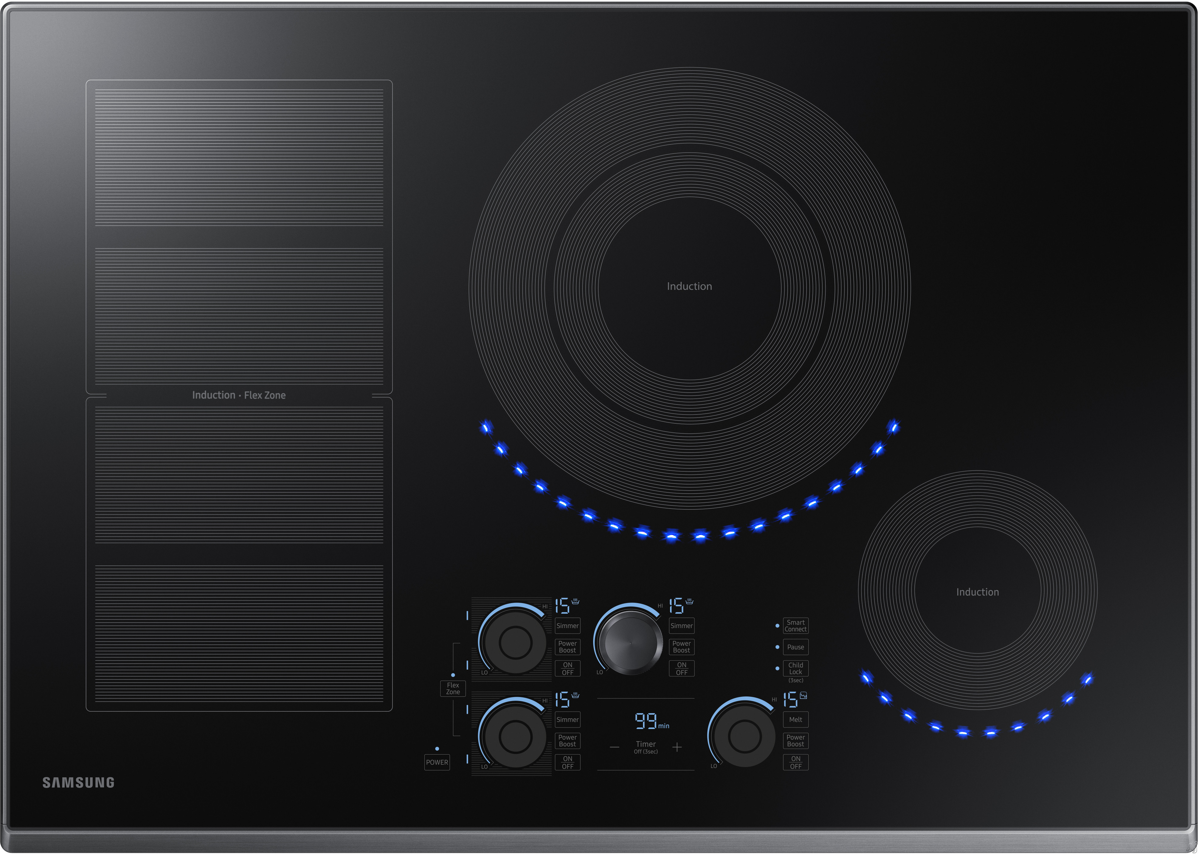 Samsung NZ30K7880UG 30 Inch Induction Cooktop with Flex Zone, 15 Heat Settings, Power Boost, Melt Mode, Simmer Control, Virtual Flame Surface Lights, Timer, Control Lock and Wi-Fi Connectivity: Black