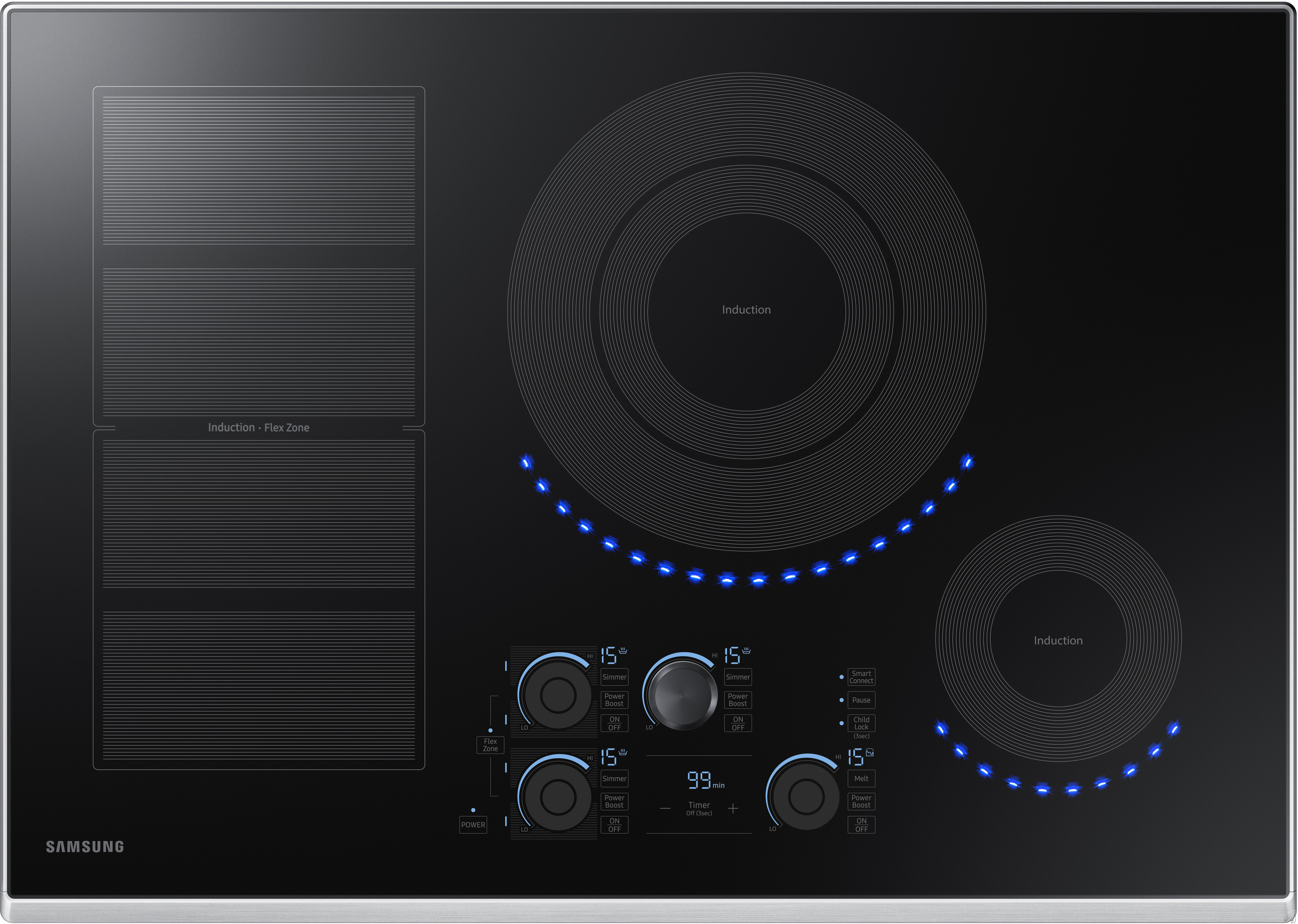 Samsung NZ30K7880US 30 Inch Induction Cooktop with Flex Zone, 15 Heat Settings, Power Boost, Melt Mode, Simmer Control, Virtual Flame Surface Lights, Timer, Control Lock and Wi-Fi Connectivity: Stainl