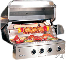 "Dacor Discovery OB36 36 Inch Built-in Gas Grill with 3-20,000 BTU """"U"""" Shaped Burners, Infrared Rotisserie System, Halogen Lights and Illumina Burner Controls"" OB36"