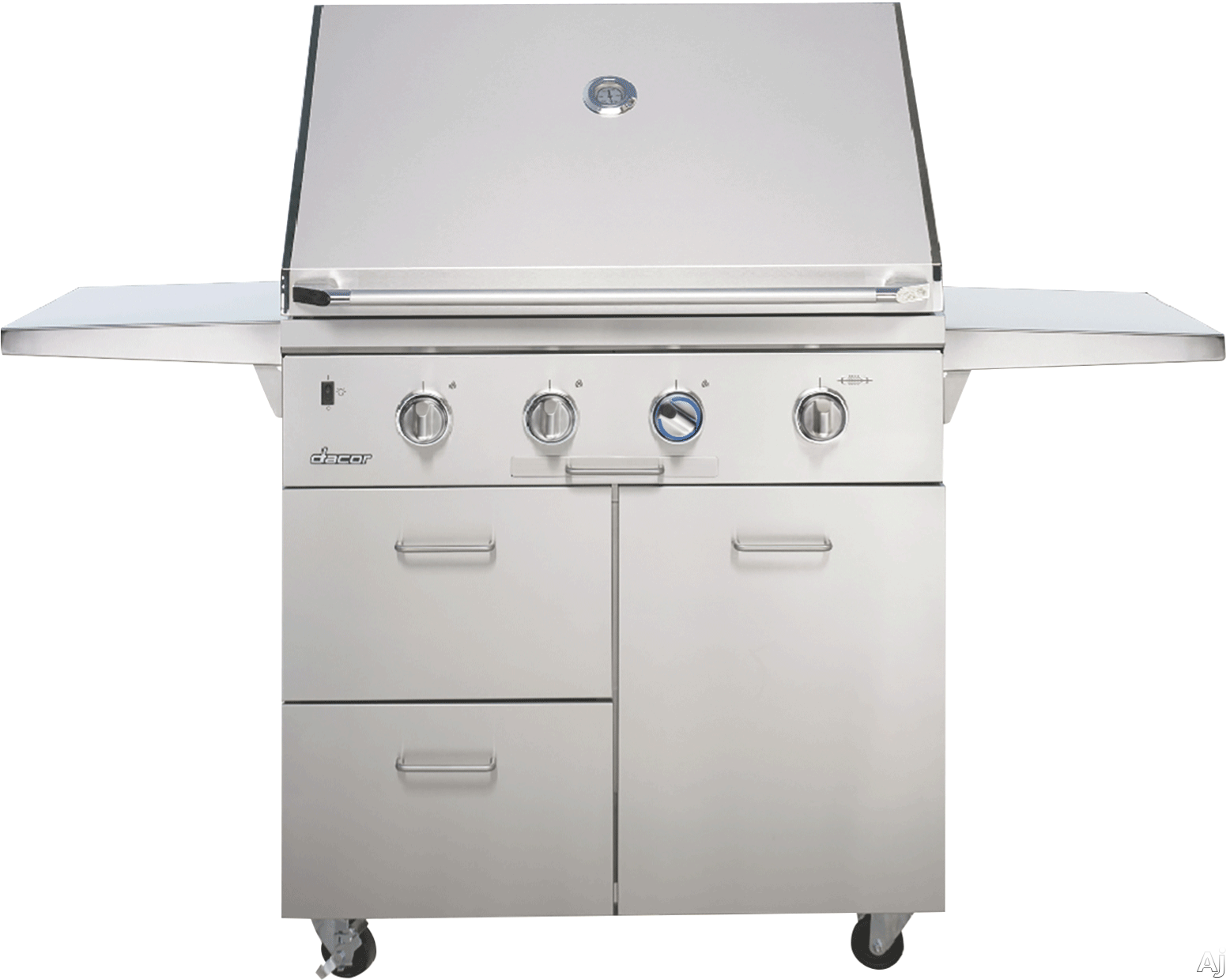 Dacor Heritage OBC36 36 Inch Outdoor Grill Cart with Heavy-Duty Stainless Steel Construction (Grill Sold Separately)