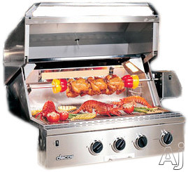 "Dacor Discovery OBS36 36 Inch Built-in Gas Grill with 2-20,000 BTU """"U"""" Shaped Burners, Sear Burner, Infrared Rotisserie System, Halogen Lights and Illumina Burner Controls"" OBS36"