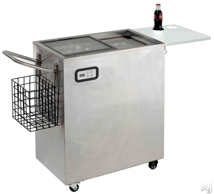 Image of Avanti ORC2519SS 50 Inch Portable Outdoor Beverage Cooler with 2.5 cu. ft. Capacity, Dual Sliding Glass Doors, Door Lock, Serving Table, Digital Temperature Control/Display and Cover Included