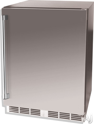 Vintage HS24TO1R1L 24 Inch Fully Integrated Outdoor Refrigerator with 53 cu ft Capacity 2 Pullout Shelves 770 BTU Compressor Door Lock and Stainless Steel Interior Right Hinge Door Swing