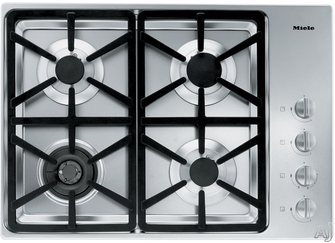 Miele KM3464LPSS 30 Inch Stainless Steel Gas Cooktop with 4 Sealed Burners and Fast Ignition System: Hexa Grate Design/LP Gas