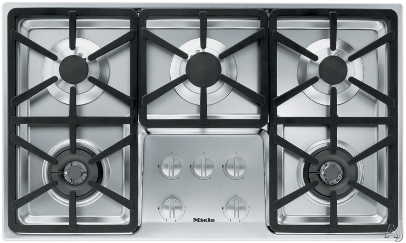 Miele KM3474LPSS 36 Inch Stainless Steel Gas Cooktop with 5 Sealed Burners and Fast Ignition System: Hexa Grate Design/LP Gas