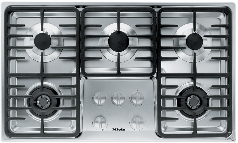 Miele KM3475LPSS 36 Inch Stainless Steel Gas Cooktop with 5 Sealed Burners and Fast Ignition System: Contemporary Linear Grate Design/LP Gas