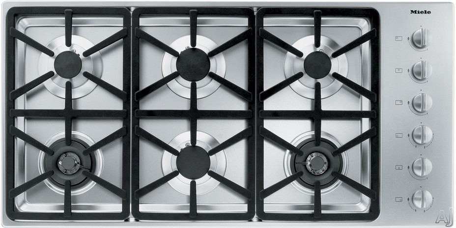 Miele KM3484GSS 42 Inch Stainless Steel Gas Cooktop with 6 Sealed Burners and Fast Ignition System: Hexa Grate Design/Natural Gas