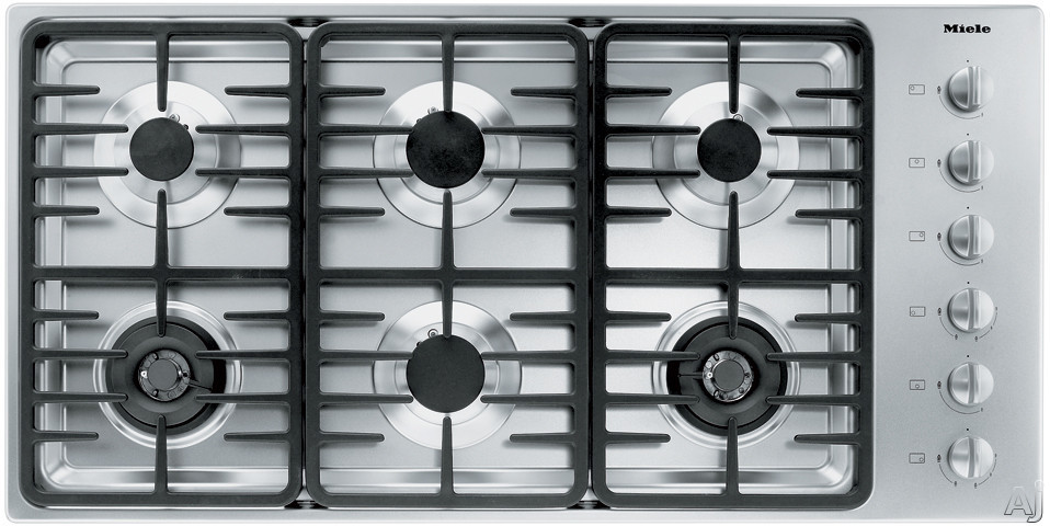 Miele KM3485LPSS 42 Inch Stainless Steel Gas Cooktop with 6 Sealed Burners and Fast Ignition System: Contemporary Linear Grate Design/LP Gas