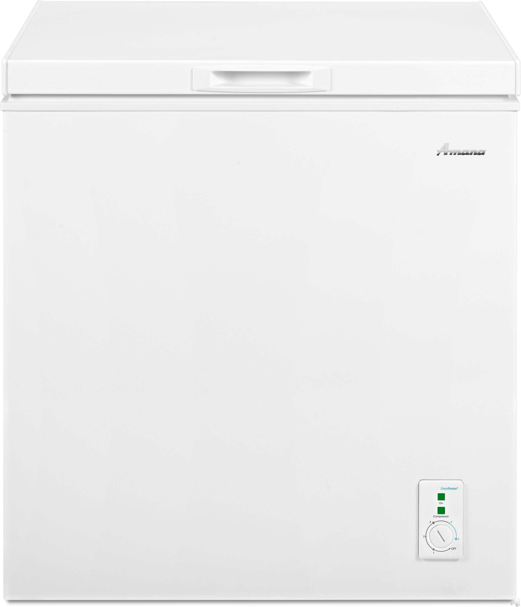 Picture of Amana AQC0501DRW 53 cu ft Capacity Compact Chest Freezer with 1 Wire Basket Deepfreeze Technology Leveling Legs and 2 Built-In Rollers