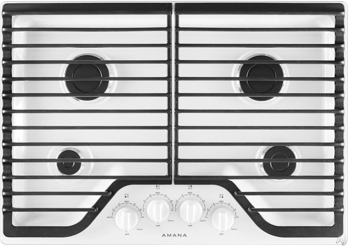 Amana Agc6540kfw 30 Inch Gas Cooktop With 4 Sealed Burners, Front Controls, Dishwasher-safe Grates, Dishwasher-safe Knobs, Lp Conversion Kit And Ada Compliant: White