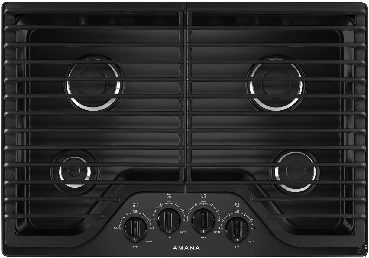 Amana AGC6540KFB 30 Inch Gas Cooktop with 4 Sealed Burners, Front Controls, Dishwasher-Safe Grates, Dishwasher-Safe Knobs, LP Conversion Kit and ADA Compliant: Black