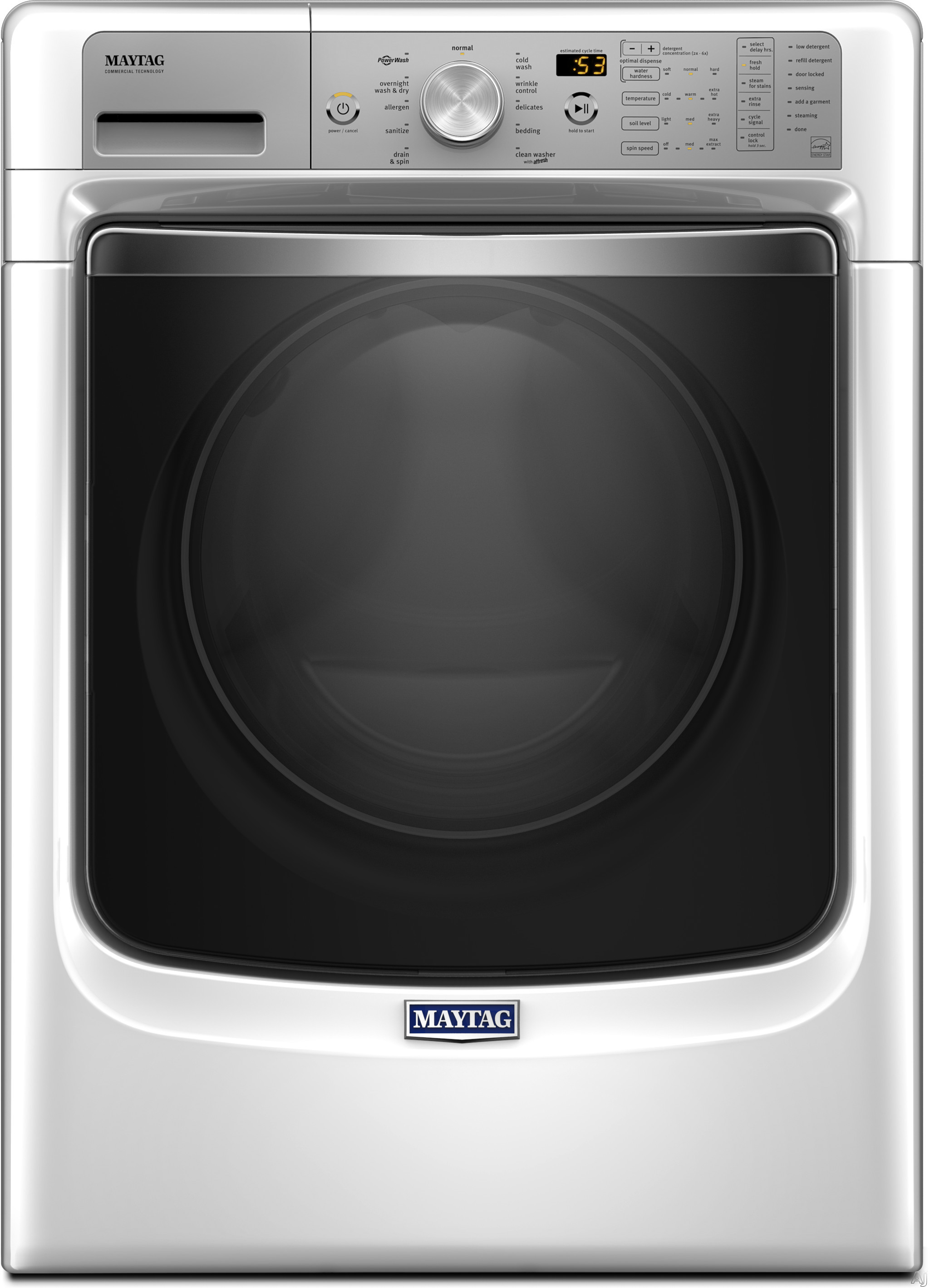 Maytag MHW8200FW 27 Inch 4.6 cu. ft. Front Load Washer with Steam, PowerWash® System, Fresh Hold® Option, Optimal Dose Dispenser, 11 Wash Cycles, 1,200 RPM, Overnight Wash & Dry Cycle and ENERGY