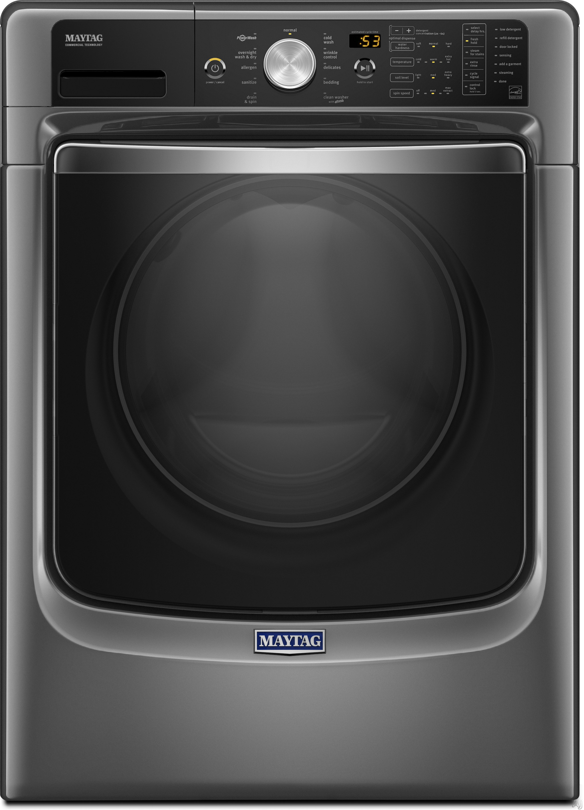 Maytag MHW8200FC 27 Inch 4.6 cu. ft. Front Load Washer with Steam, PowerWash® System, Fresh Hold® Option, Optimal Dose Dispenser, 11 Wash Cycles, 1,200 RPM, Overnight Wash & Dry Cycle and ENERGY