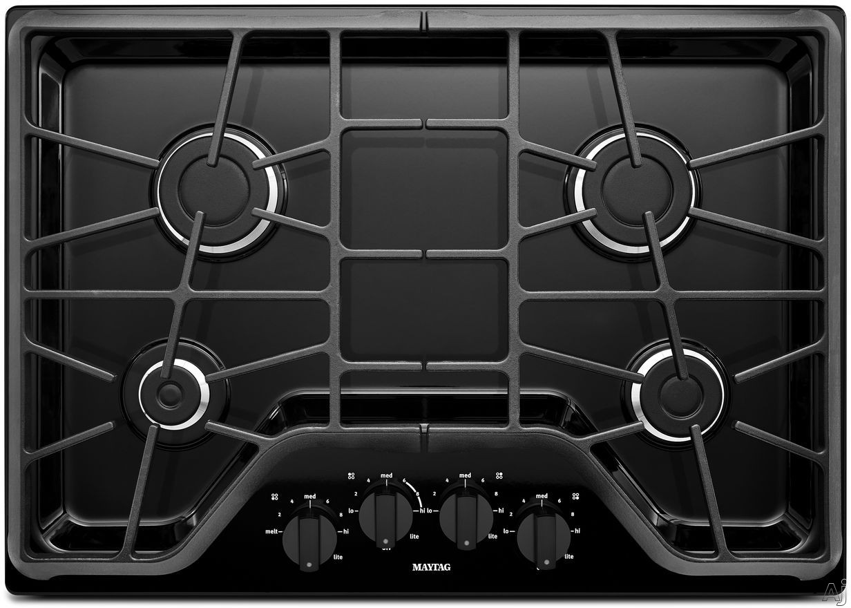 Maytag MGC7430D 30 Inch Gas Cooktop with 4 Sealed Burners, 5,000-BTU Simmer Burner, 15,000-BTU Power Burner, Front Control Knobs and Heavy-Duty DuraClean Continuous Cast-Iron Grates
