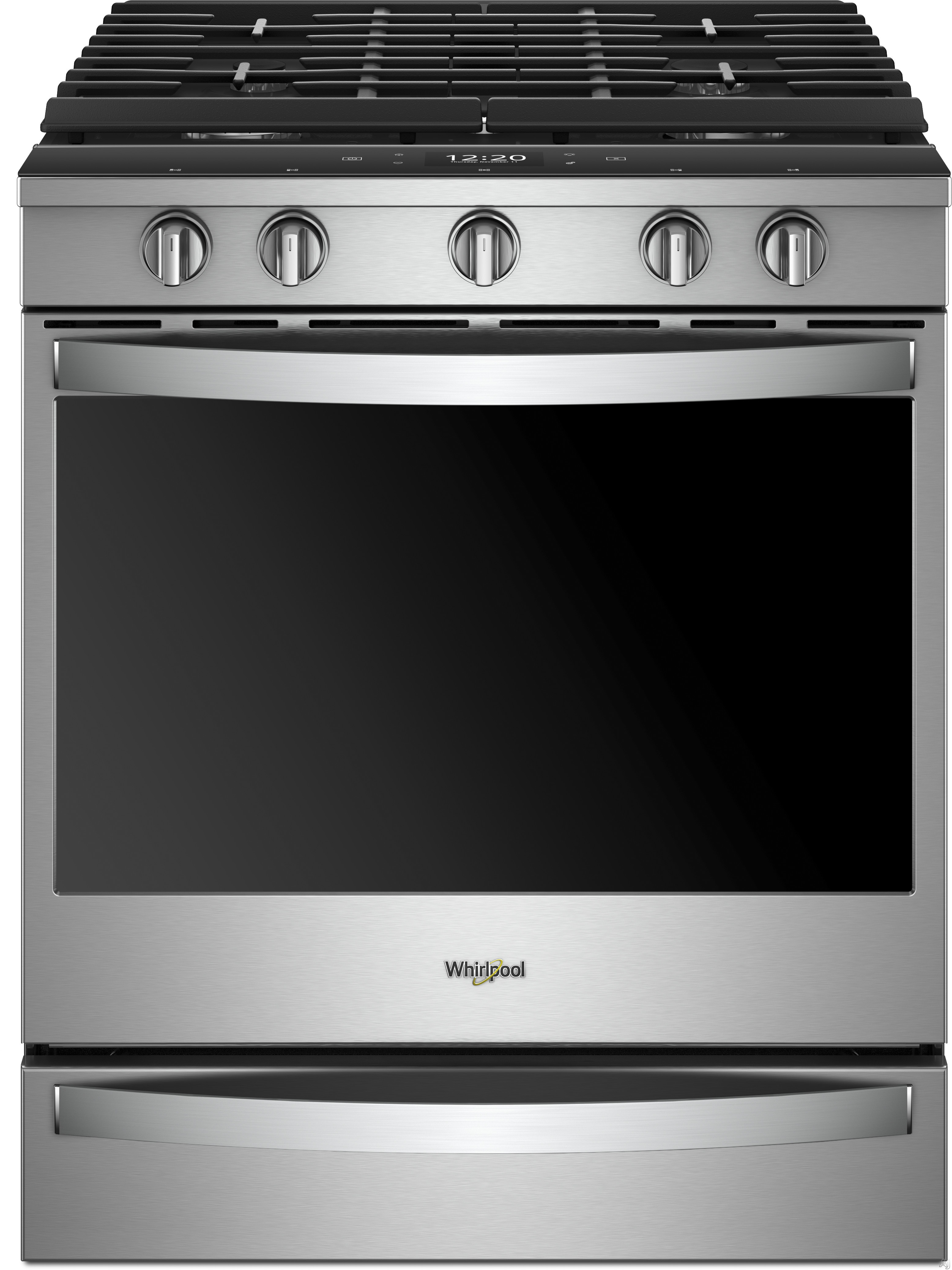 Whirlpool WEG950H0HZ 30 Inch Slide-In Gas Range with Fingerprint Resistance, True Convection System, Electronic Touch Control, Continuous Grates, Storage Drawer and Sabbath Mode