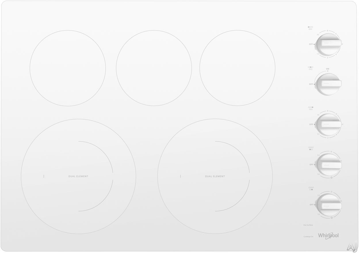 "Whirlpool WCE77US0HW 30 Inch Electric Cooktop with 5 Element Cooktop, Ceramic Glass Cooktop, Wall Oven Compatible, FlexHeatâ""¢ Dual Radiant Element, 6"""" Extra Element, Hot Surface Indicator Light, Dishwasher-Safe Knobs and Warm Zone Element: White"" WCE77"