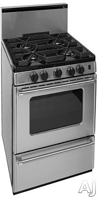 Premier Pro Series P24B3202PS 24 Inch Gas Range with 4 Sealed Burners, Continuous Cast Iron Grates, Battery Ignition, Stainless Steel Backguard, Stainless Steel Commercial Handles, 2 Oven Racks, Broil