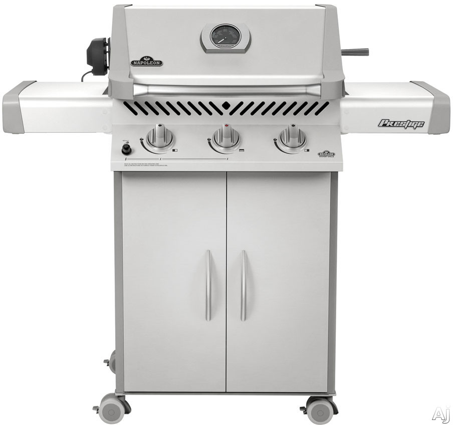Napoleon Prestige II Series P308RB 56 Inch Freestanding Gas Grill with 483 sq. in. Cooking Surface, 44,000 Total BTUs, Rotisserie Kit, Cast Iron Grids, Temperature Gauge and Removable Drip Pan P308RB
