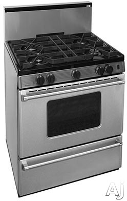 Premier Pro Series P30B3202PS 30 Inch Gas Range with 4 Sealed Burners, Continuous Cast Iron Grates, Battery Ignition, Stainless Steel Backguard, Stainless Steel Commercial Handles, 2 Oven Racks and Br